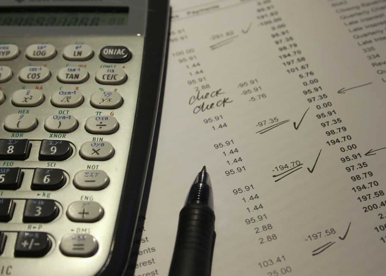 A calculator and some accounting documents
